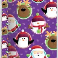 3 Metre Extra Wide Purple Christmas Wrapping Paper Recyclable