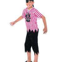 Jolly Pirate Boy Costume, Red & White (Large)
