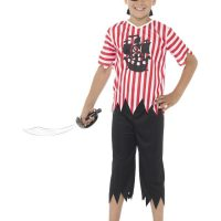 Jolly Pirate Boy Costume, Red & White (Small)
