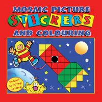 Mosaic Picture Stickers and Colouring Book (Red Cover)