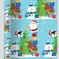 3 Metre Extra Wide Blue Christmas Wrapping Paper Recyclable