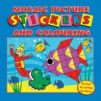 Mosaic Picture Stickers and Colouring Book (Blue Cover)